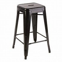 06. No back metal barstool black