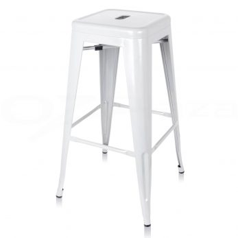 07. No back metal barstool white
