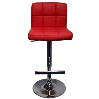 R High back barstool Red with chrome base