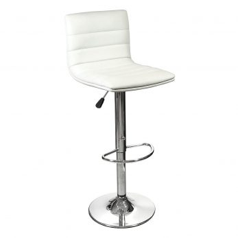 High back barstool White with Chrome base