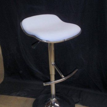 A white leather no back barstool