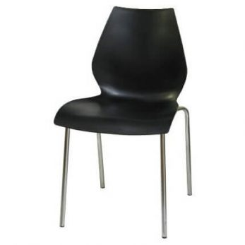 10. Display chair black plastic with silver legs