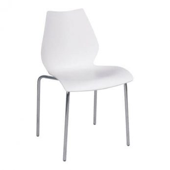 Display chair white plastic with silver legs