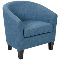 Tub chair elite dark blue with black fleck and wooden legs