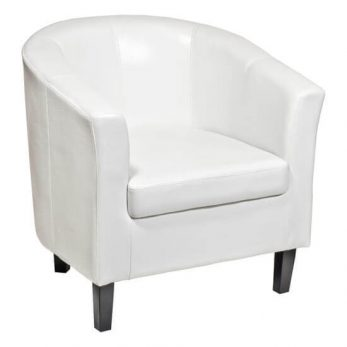 Tub chair elite white and wooden legs