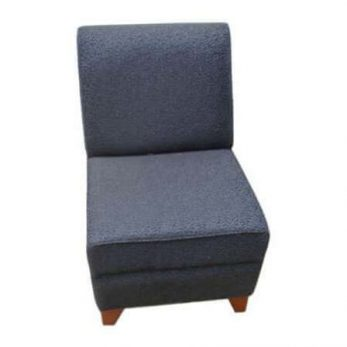 Lounge seat modular dark blue with black flecks and wooden feet