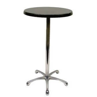 Dry bar table ironstone with chrome base 700mmdia x 1000mmh