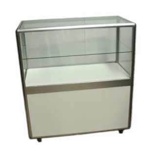 Showcase 2 shelves white with lockable sliding doors 1000mml x 1000mmh x 500mmd