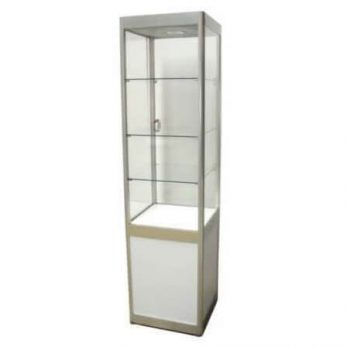 Showcase 4 shelves white lockable with downlight 500mml x 2000mmh x 400mmd