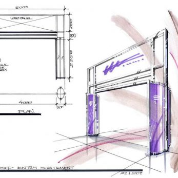 Ceptual drawing of main entrance to Exhibition